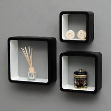 3er Set Lounge Cube Regal Design Retro Wandregal Hängeregal Schwarz Weiß NEU