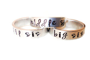 Details About Big Sister Middle Sister Little Sister Set Of Three Rings Sisters Gifts