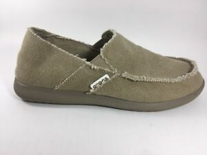 414bcc54884 Crocs Santa Cruz Canvas Slip-On Shoes Loafers Men s 8 Tan Khaki