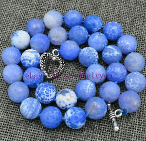 Details about Faceted 12mm Blue Dream Fire Dragon Veins Agate Round Gems  Necklace 18