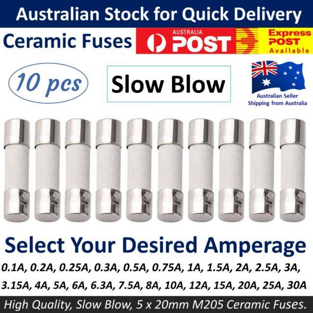 0.1A 0.15A 0.25A 0.5A 0.63A Fast Blow 3AG 6x32mm Fuse Pack of 10 Fuses