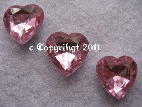 Or 25 GR semipreciosas pedrería piedras fosforescentes corazón rosa 16x16mm