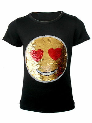 Girls Emoji Emoticons Face T Shirt Tee Top Brush Changing Sequin Age 3-14 Years
