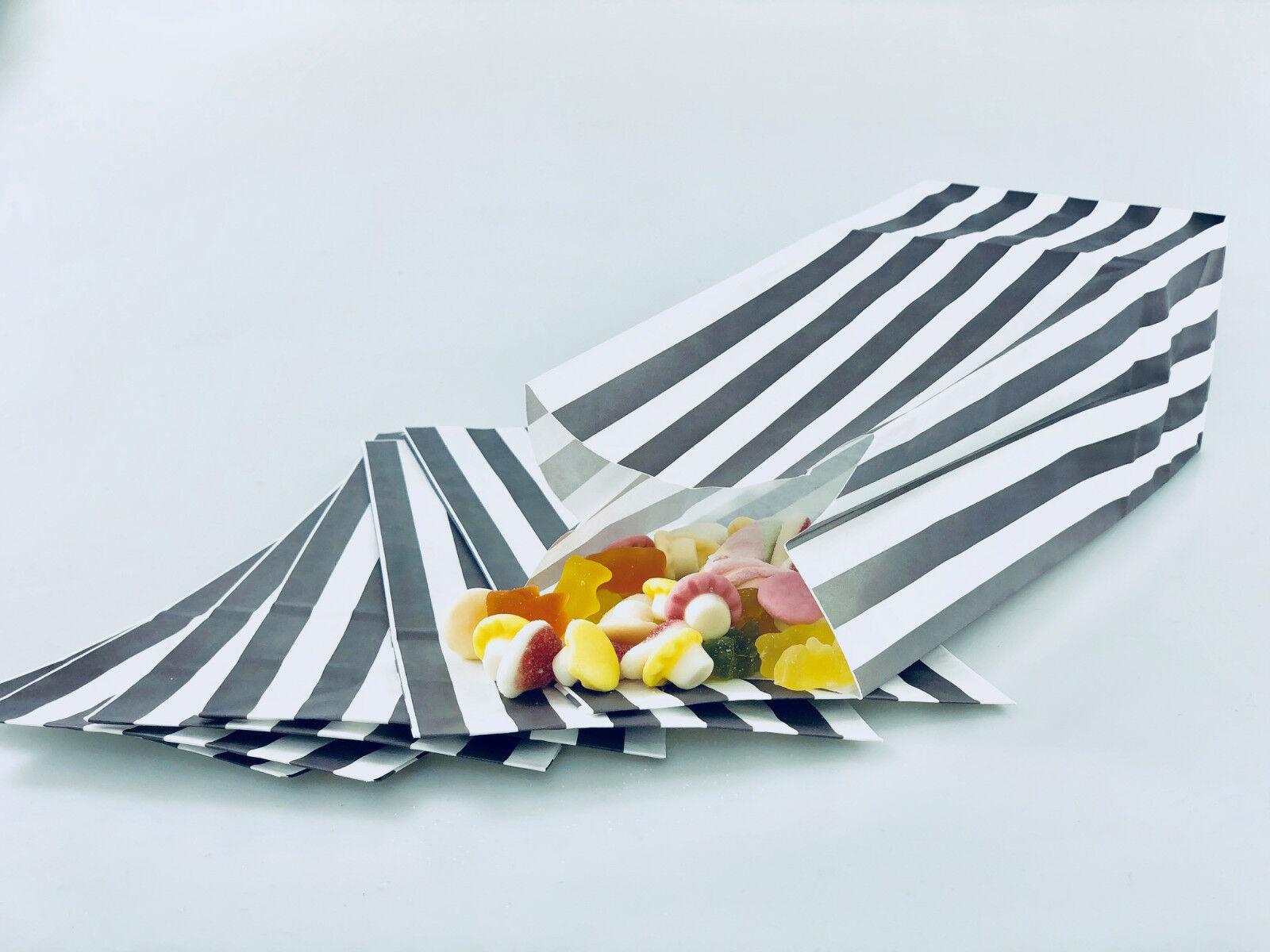 1000 x grau Silber a Righe per Dolci Popcorn Misti Sacchetti di Carta