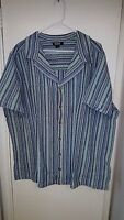 Kingsize Striped Short Sleeve Button Front Shirt Size 3xl Big With Tags