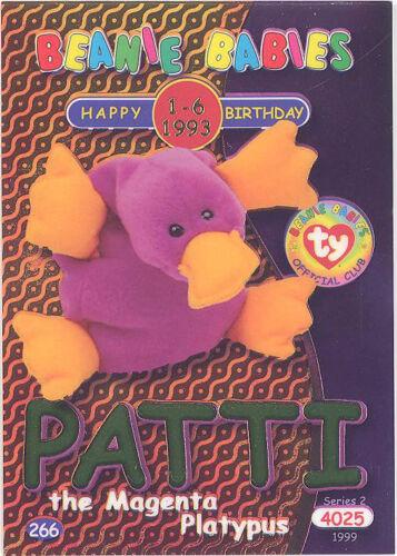 - PATTI Magenta Platypus GREEN TY Beanie Babies BBOC Card Series 2 Birthday
