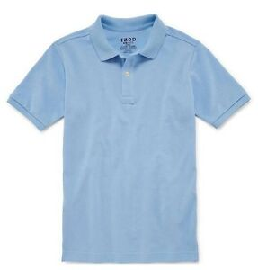 Nwt izod boy 39 s short sleeve polo school t shirt blue white Burgundy polo shirt boys