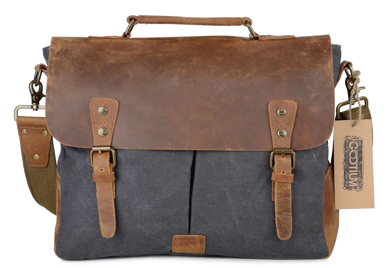 f138cc7257 Gootium Canvas Messenger Bag Vintage Leather Briefcase 15.6 Inch ...