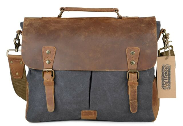 Retro Canvas Leather Messenger Shoulder Bag Cross Body Laptop Bag for 14-15.6/""