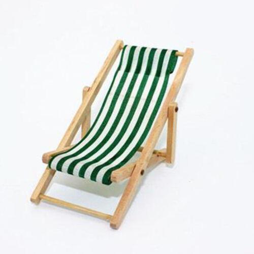 Mini Dollhouse Miniature Plage De Jardin Mobilier pliable chaise longue à rayures bleues