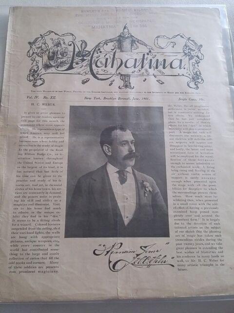 Vintage Mahatma H.C. Weber Issue 1901 Vol. IV No. XII