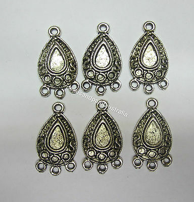 6 Pieces Tear Drop Metal Chandelier Earrings Antique Silver Tone Jewellery JF839