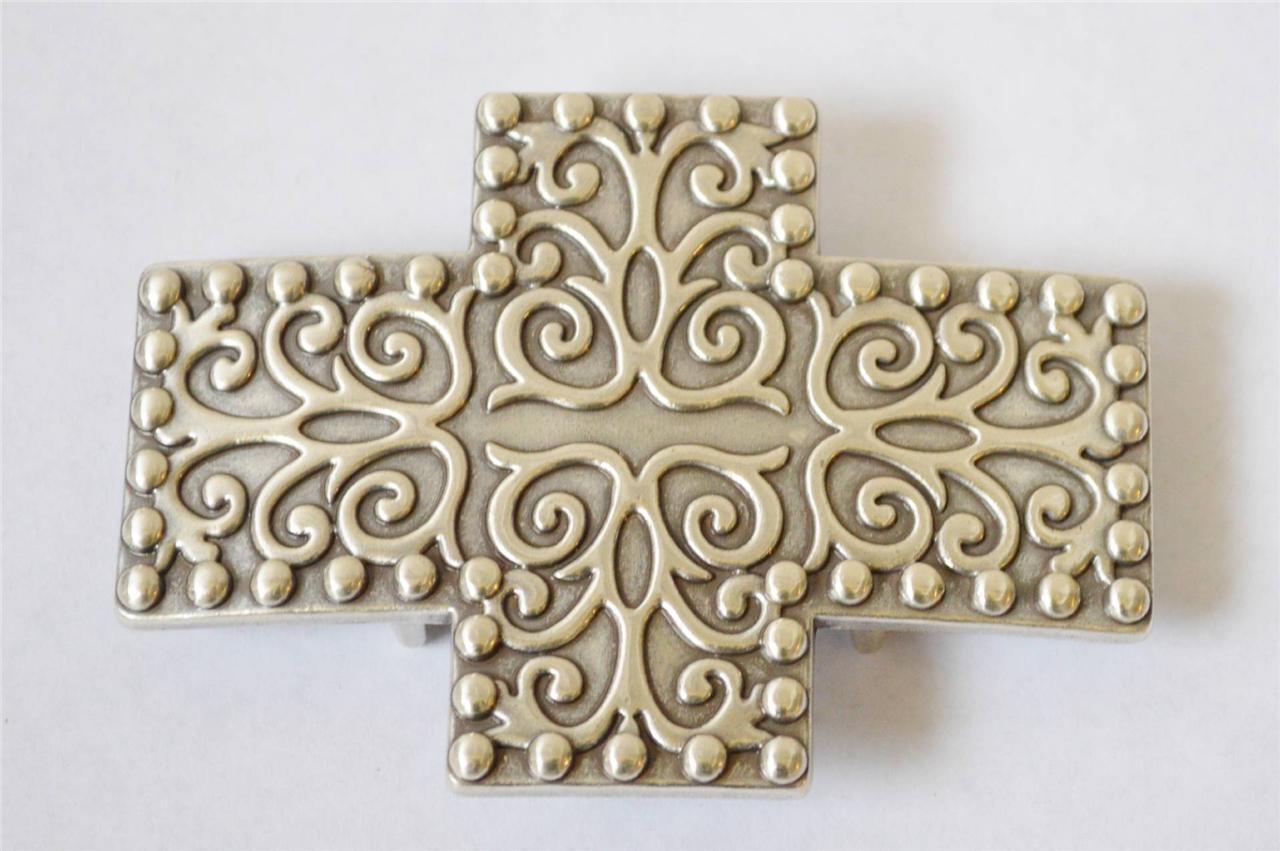 New Enmon Engraved Swirl Cross Western Belt Buckle Cowgirl Silver