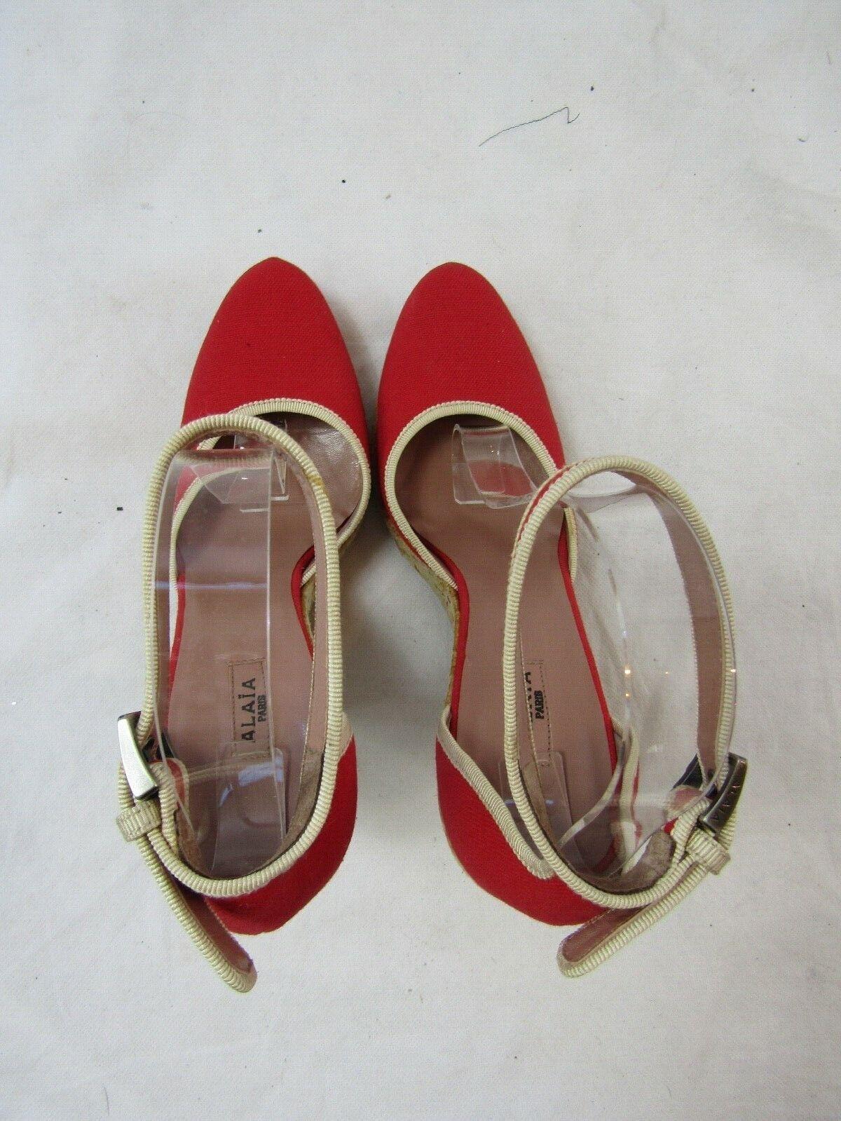 Azzedine Alaia Red Espadrille Wedge Size 37.5 Ret… - image 8
