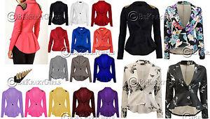 New-Womens-Crop-Frill-Shift-Slim-Fit-Peplum-Blazer-Jacket-Coat-Ladies-Size-8-24