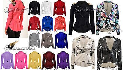 New Womens Crop Frill Shift Slim Fit Peplum Blazer Jacket Coat Ladies Size 8-24