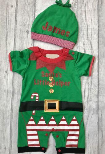Bebé Chicos Navidad Santas Pequeño Ayudante Elf Mameluco Sombrero Lindo Regalo Personalizado