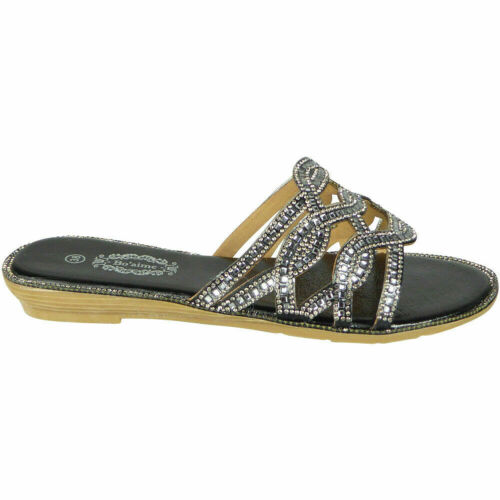 Womens Comfy Sliders Open Toe Ladies Summer Bling Flat Mules Casual Party Shoes