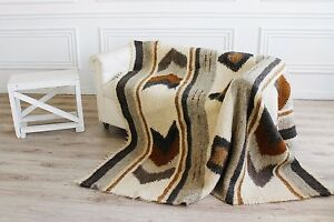 King Size Brown Pure 100% Wool Throw Blanket Warm Bed Sofa Cover Handmade Decor