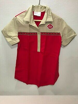 Vintage Old Stock Dairy Queen Uniform Shirt Red /& Tan Size 14