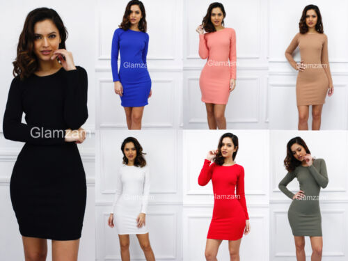 New Womens Ladies Glam Crepe Long Sleeve Mini Bodycon Celeb Party Cocktail Dress