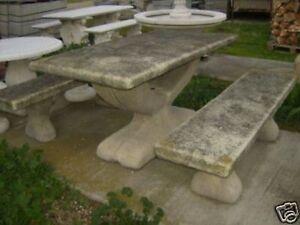 Panche In Pietra Da Giardino.Tavolo Panche Da Giardino In Polvere Di Marmo No Legno Ebay