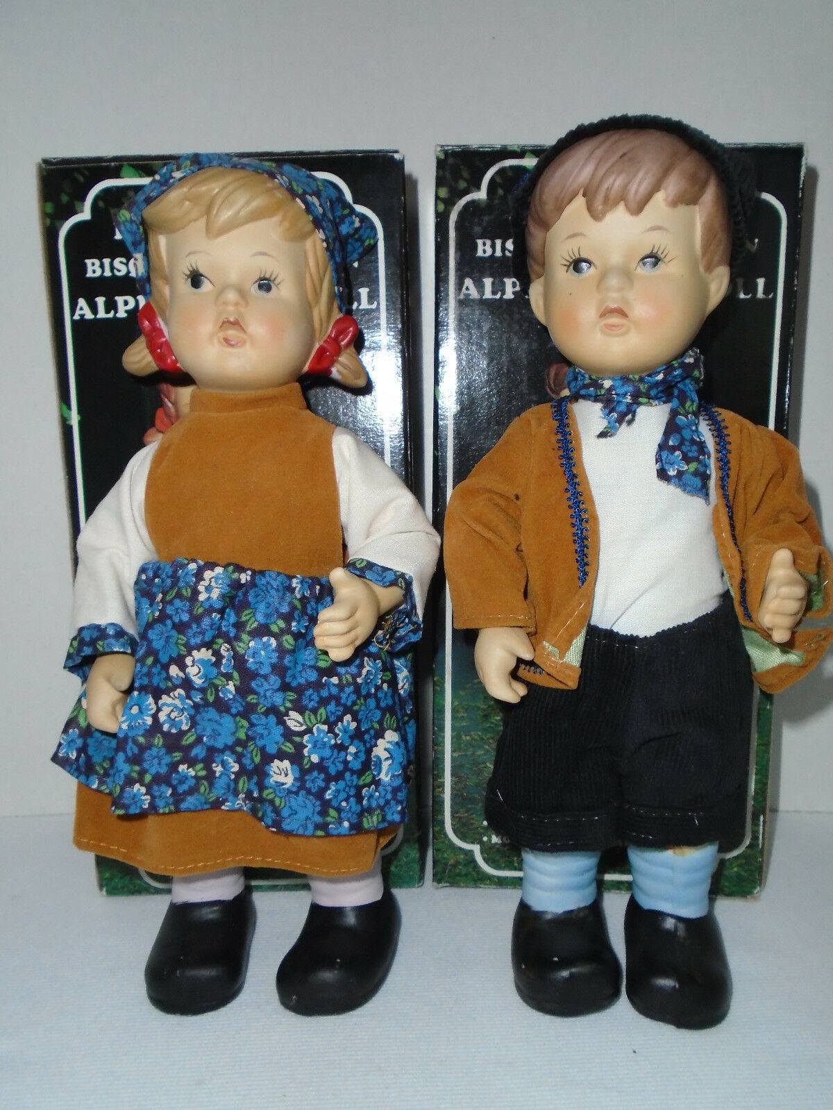 VINTAGE 1984 ALPINE GIRL &  BOY DOLL HAND PAINTED BISQUE PORCELAIN