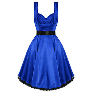 Hearts-And-Roses-London-Blue-Satin-Vintage-50s-Pinup-Party-Prom-Evening-Dress-UK