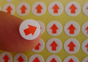 self adhesive red label stickers removable round shipping packaging
