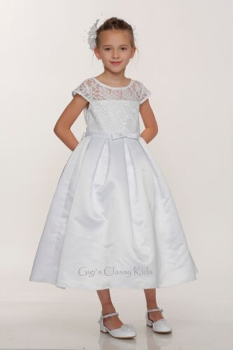 New Girls White Dress Wedding First Holy Communion Elegant Easter Flower 2008