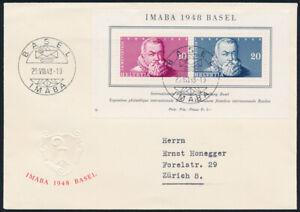 SCHWEIZ-1948-Block-13-auf-schoenem-illustriertem-Brief-Mi-110