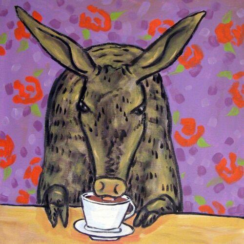 aardvark Coffee art tile coaster gift modern folk JSCHMETZ