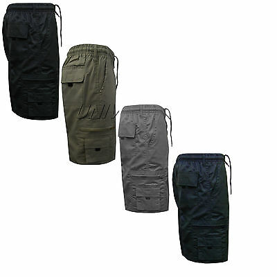 MENS ELASTICATED POLY COTTON SUMMER SHORTS CARGO COMBAT CASUAL PANTS