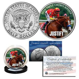 JUSTIFY-TRIPLE-CROWN-WINNER-Thoroughbred-Race-Horse-2018-JFK-Half-Dollar-US-Coin