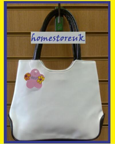DOUBLE HANDLE WHITE RECSIN SHOULD BAG HAND BAG HANDBAG PURSE Faux Leather