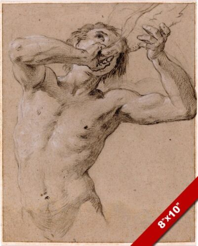TRITON BLOWING A CONCH SHELL CHALK DRAWING ART REAL CANVAS GICLEEPRINT