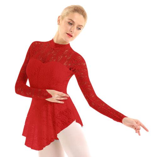 Women Girl Figure Ice Skating Leotard Dress Roller Ballet Dance Jumpsuit Costume
