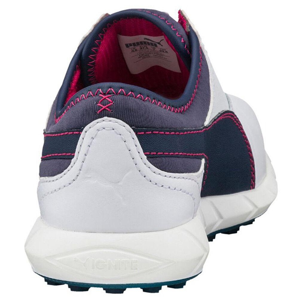 2f09a9b8efc PUMA Womens Ladies Ignite Spikeless Golf Shoes Trainers White Dark Blue  Pink 41