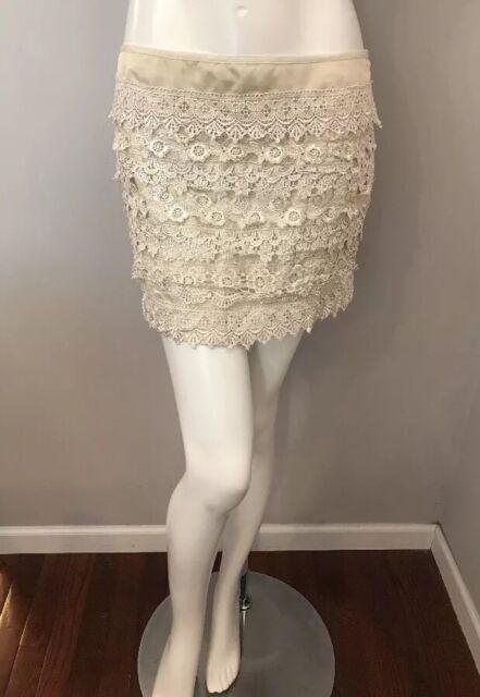 c9b7e156a945 Sans Souci Beige Ivory Crochet Lace Mini Skirt Size L   eBay