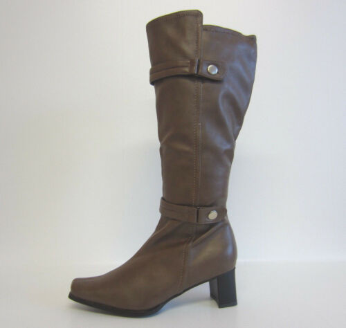 R10A Spot On LB733 Ladies Knee High Boots Mushroom Size UK 6
