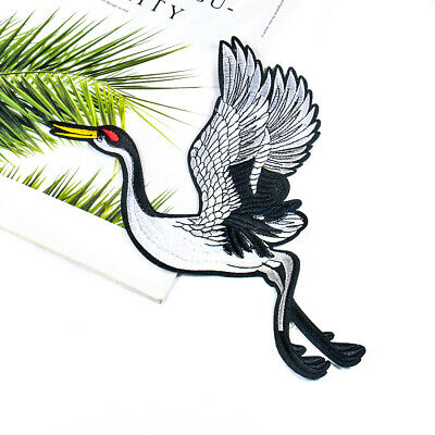 Hot 1Pair of Crane Embroidery Sew Iron On Patch Bag Dress Applique Clothes L0C2