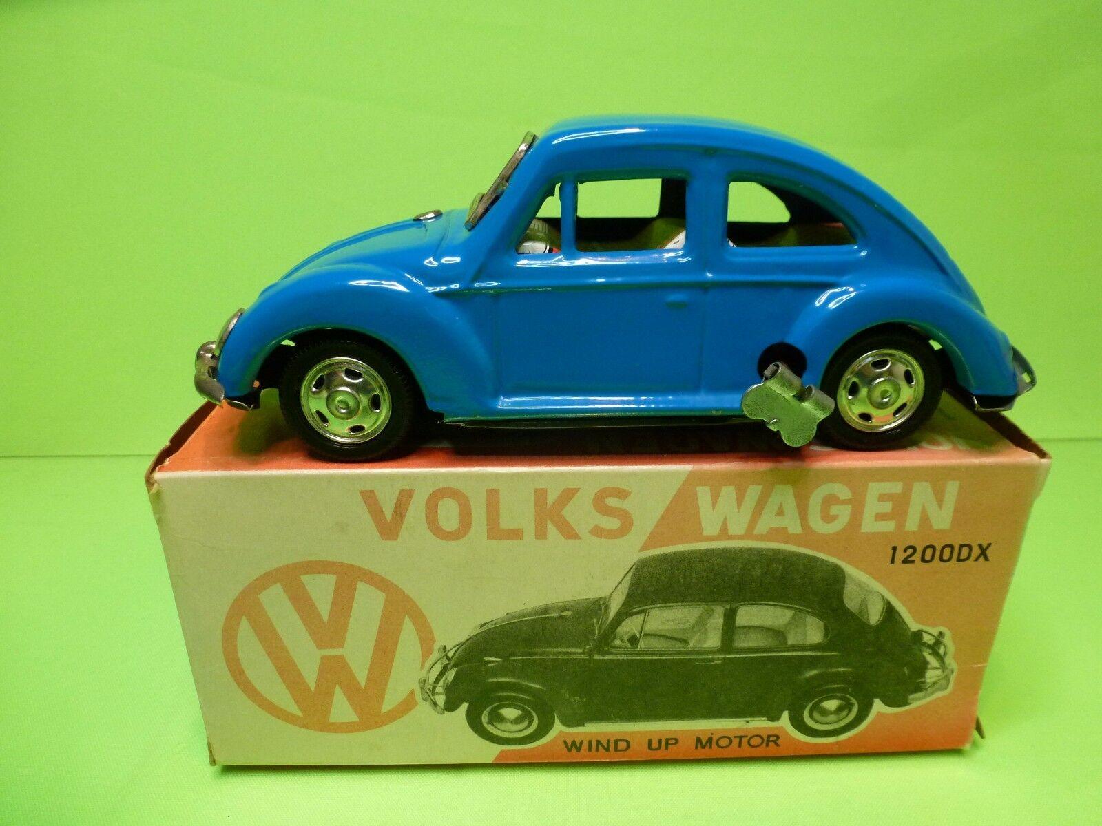 JAPAN TIN TOYS BLECH BLECH BLECH VW VOLKSWAGEN BEETLE 1200DX - blueE L18.5cm - WIND UP MOTOR 849d83