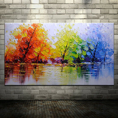 Large Handpainted Color Tree Abstract Landscape Oil Paintings On Canvas Wall Art Ebay