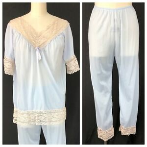 Vintage-60s-Baby-Blue-Silky-Nylon-Pajama-Set-With-Lace-Trim-Top-Pants-Loungewear