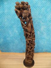 "28""TREE OF LIFE TANZANIA AFRICAN MAKONDE EBONY WOOD BLACK METAL BASE1970s FAMILY"