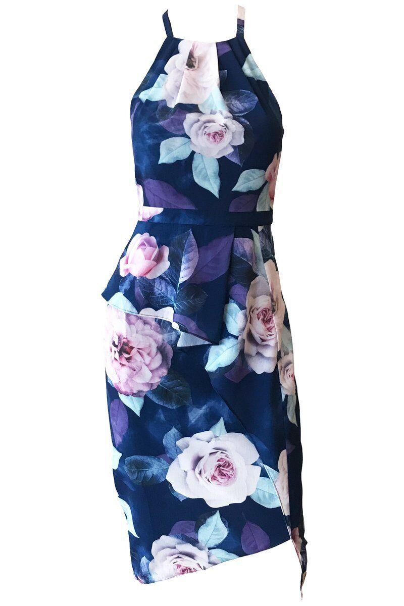 Rosa Floral Print Navy dress