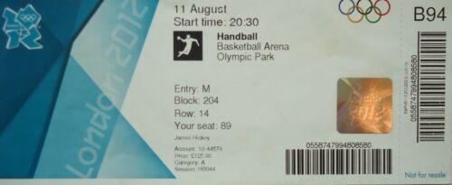 Eintrittskarte Olympia 11.8.2012 Women/'s Handball Finale Norwegen-Montenegro B94