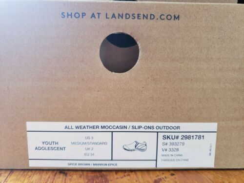 Details about  /Lands End Kids Boys Youth Brown Suede All Weather Mocs Slip-Ons Size 3 Comfy