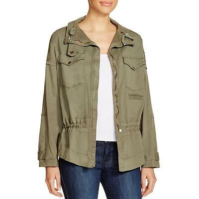 McGuire Denim 4460 Womens Green Frayed Trim Single Vent Military Jacket L BHFO