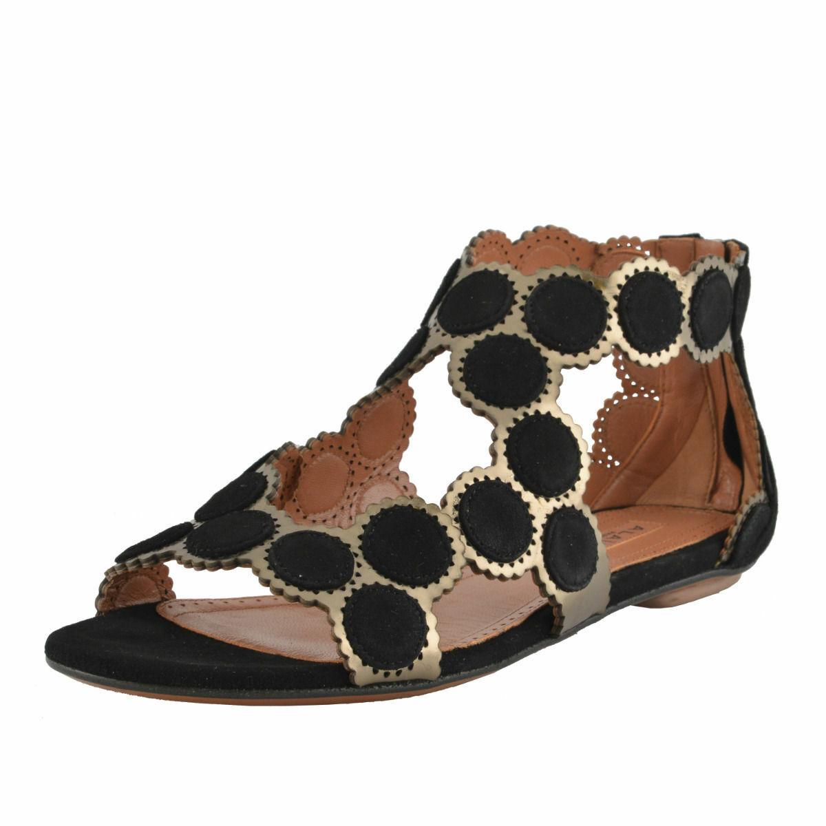 Alaïa Para Mujer Gamuza De Cuero Correa de tobillo Sandalias Zapatos